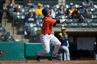 JacobCampbell (9) of the Illinois Fighting Illini follows through on his swing against the West Virginia Mountaineers at TicketReturn.com Field at Pelicans Ballpark on February 23, 2020 in Myrtle Beach, South Carolina. The Fighting Illini defeated the Mountaineers 2-1.  (Brian Westerholt/Four Seam Images)