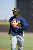 Milwaukee Brewers outfielder Demi Orimoloye (52) jogs off the field between innings during an Instructional League game against the San Diego Padres on September 27, 2017 at Peoria Sports Complex in Peoria, Arizona. (Zachary Lucy/Four Seam Images)