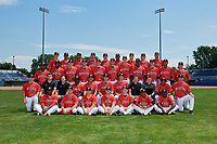 Batavia Muckdogs team photo on July 2, 2018 at Dwyer Stadium in Batavia, New York.  Back:  Martin Anderson, Gerardo Nunez, Manuel Rodriguez, Evan Estes, Bryce Howe, Luis Mojica, RJ Peace, J.D. Osborne, Igor Baez;  Middle Standing:  Elkin Alcala, Demetrius Sims, Tanner Andrews, Jameson McGrane, Tyler Mitzel, Chris Vallimont, Sean Reynolds, Jerar Encarnacion, Chad Martin, Humberto Mejia, Denis Karas;  Middle Sitting:  Luke Jarvis, Clubhouse Manager Connor Holiday, Video Coordinator Jeremy Owens, Defensive Coach Ronnie Richardson, Hitting Coach Jesus Merchan, Manager Mike Jacobs, Pitching Coach Jason Erickson, Strength Coach Spencer Clevenger, Athletic Trainer Jordan Wheat, Brayan Hernandez, Dylan Cyphert;  Sitting:  Albert Guaimaro, Karl Craigie, Michael Donadio, Matt Brooks, Zach Wolf, Pablo Garcia, C.J. Carter  (Mike Janes/Four Seam Images)
