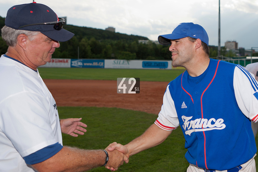 22 June 2011: Vincent Ferreira of Team France is seen after AIST Alumni 5-3 win over France, at the 2011 Prague Baseball Week, in Prague, Czech Republic.