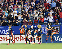 FRISCO, TX - MARCH 11: Lindsey Horan #9 of the United States celebrates her goal with Mallory Pugh #2 during a game between Japan and USWNT at Toyota Stadium on March 11, 2020 in Frisco, Texas.