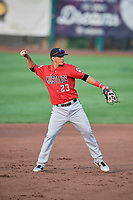 Carlos Rivero (23) of the Billings Mustangs during a game against the Ogden Raptors at Lindquist Field on August 18, 2018 in Ogden, Utah. Billings defeated Ogden 6-4. (Stephen Smith/Four Seam Images)