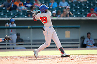 Rocket City Trash Pandas designated hitter Ibandel Isabel (19) at bat against the Tennessee Smokies at Smokies Stadium on July 2, 2021, in Kodak, Tennessee. (Danny Parker/Four Seam Images)