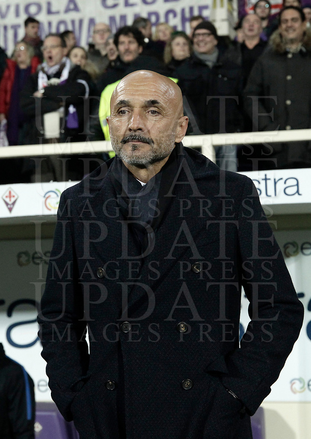 Calcio, Serie A: Fiorentina - Inter, stadio Artemio Franchi Firenze 5 gennaio 2018.<br /> Inter's coach Luciano Spalletti waits for the start of the Italian Serie A football match between Fiorentina and Inter Milan at Florence's Artemio Franchi stadium, January 5 2018.<br /> UPDATE IMAGES PRESS/Isabella Bonotto