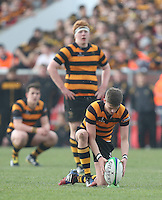 2015 ULSTER SCHOOLS CUP FINAL | Tuesday 17th March 2015<br /> <br /> T.J. Morris tees up during the 2015 Ulster Schools Cup Final between RBAI and Wallace High School at the Kingspan Stadium, Ravenhill Park, Belfast, Count Down, Northern Ireland.<br /> <br /> Picture credit: John Dickson / DICKSONDIGITAL