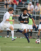 04 September 2009:Justin Morrow #21 of the University of Notre Dame races away from Justin Lichtfuss #4 of Wake Forest University during an Adidas Soccer Classic match at the University of Indiana in Bloomington, In. The game ended in a 1-1 tie..