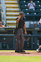 Umpire Joe McCarthy calls a strike during a game between the Daytona Tortugas and Bradenton Marauders on June 9, 2021 at LECOM Park in Bradenton, Florida.  (Mike Janes/Four Seam Images)