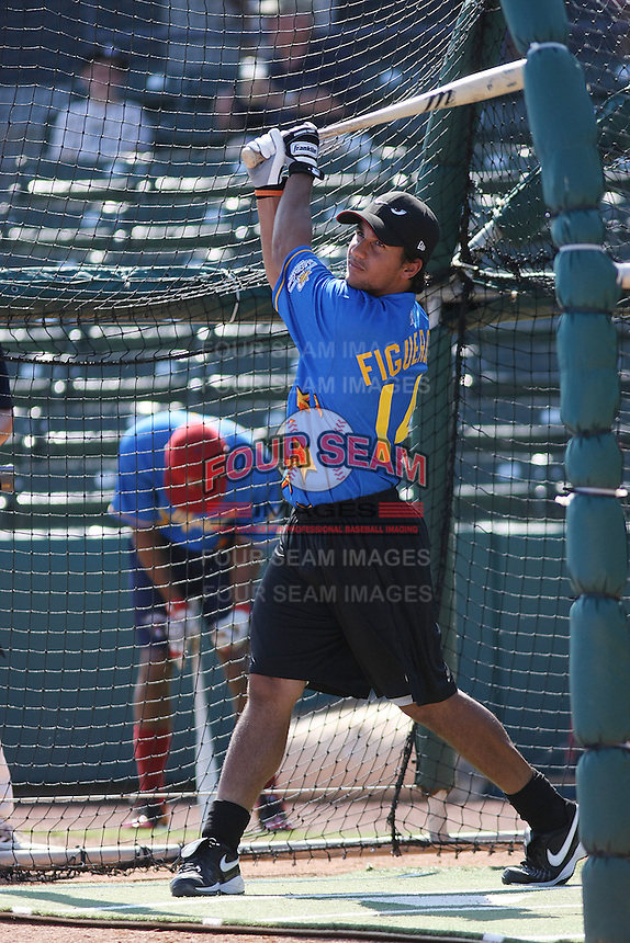 Lake Elsinore Storm infielder Cole Figueroa of the California League All- Stars taking batting practice before the California League vs. Carolina League All-Star game held at BB&T Coastal Field in Myrtle Beach, SC on June 22, 2010.  The California League All-Stars defeated the Carolina League All-Stars by the score of 4-3.  Photo By Robert Gurganus/Four Seam Images