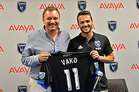 San Jose, CA - Monday July 10, 2017: Valeri 'Vako' Qazaishvili, Jesse Fioranelli prior to a U.S. Open Cup quarterfinal match between the San Jose Earthquakes and the Los Angeles Galaxy at Avaya Stadium.