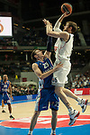 Real Madrid´s Andres Ncioni and Anadolu Efes´s Matt Janning during 2014-15 Euroleague Basketball match between Real Madrid and Anadolu Efes at Palacio de los Deportes stadium in Madrid, Spain. December 18, 2014. (ALTERPHOTOS/Luis Fernandez)
