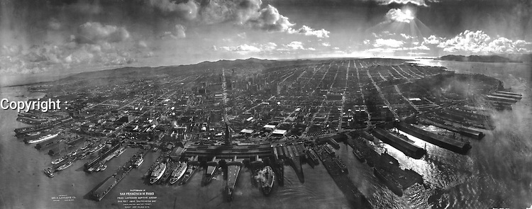 Panorama of San Francisco in ruins, taken via kite photography approx. 2,000 ft (600 m) above San Francisco Bay overlooking water front. Sun over Golden Gate. May 28, 1906 by George R. Lawrence<br /> <br /> San Francisco 1906 Earthquake  - The San Francisco earthquake of 1906 was a major earthquake that struck San Francisco and the coast of Northern California at 5:12 a.m. on Wednesday, April 18, 1906. Devastating fires broke out in the city and lasted for several days. As a result of the quake and fires, about 3,000 people died and over 80% of San Francisco was destroyed.<br /> <br /> The earthquake and resulting fire are remembered as one of the worst natural disasters in the history of the United States