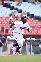Travis Demeritte (2) of the High Desert Mavericks runs to first base during a game against the Rancho Cucamonga Quakes at Heritage Field on May 8, 2016 in Adelanto, California. Rancho Cucamonga defeated High Desert, 11-5. (Larry Goren/Four Seam Images)