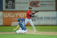 Billings Mustangs second baseman Urwin Juaquin (13) throws to first base to turn a double play as James Outman (47) slides into second base during a Pioneer League game against the Ogden Raptors at Lindquist Field on August 17, 2018 in Ogden, Utah. The Billings Mustangs defeated the Ogden Raptors by a score of 6-3. (Zachary Lucy/Four Seam Images)