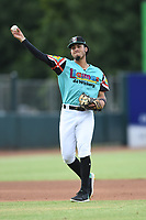 Jonathan Ornelas (3) of Las Llamas de Hickory in action during a game against Los Rapidos de Kannapolis at L.P. Frans Stadium on July 17, 2019 in Hickory, North Carolina. The Llamas defeated the Rapidos 7-5. (Tracy Proffitt/Four Seam Images)