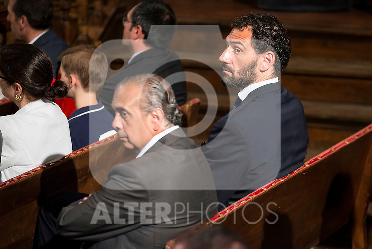 """President of the FEB, Jose Luis Saez and Spanish basketball player Jorge Garbajosa attends to the ceremony of the """"Camino Real"""" award to NBA spanish basketball player Pau Gasol at Alcala de Henares University in Madrid, July 15. 2015.<br />  (ALTERPHOTOS/BorjaB.Hojas)"""