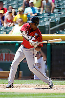 Eugenio Velez (4) of the Nashville Sounds at bat against the Salt Lake Bees in Pacific Coast League action at Smith's Ballpark on June 22, 2014 in Salt Lake City, Utah.  (Stephen Smith/Four Seam Images)