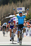 17th April 2018, Trento, Italy; Cycling, Tour of the Alps, second stage, Lavarone to Alpe di Pampeago; Miguel Angel Lopez Moreno (Astana), Christopher Froome (Team Sky), Thibaut Pinot (Groupama-FDJ)