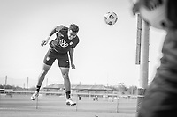 BRADENTON, FL - JANUARY 21: Jonathan Lewis heads the ball during a training session at IMG Academy on January 21, 2021 in Bradenton, Florida.
