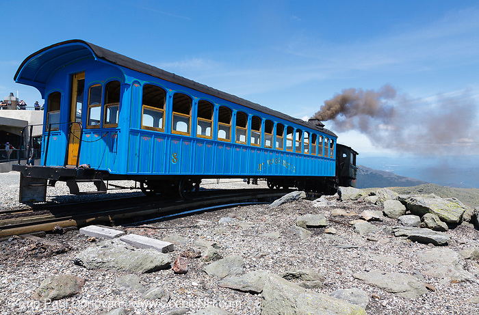 The Mount Washington Cog Railway on the summit of Mount Washington in the White Mountains, New Hampshire. Completed in 1869, this three mile railroad leads to the summit of Mount Washington.