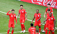 SAMARA - RUSIA, 07-07-2018: Dele ALLI (Izq) jugador de Inglaterra celebra después de anotar el segundo gol de su equipo a Suecia durante partido de cuartos de final por la Copa Mundial de la FIFA Rusia 2018 jugado en el estadio Samara Arena en Samara, Rusia. / Dele ALLI (L) player of England celebrates after scoring the second goal of his team to Sweden during match of quarter final for the FIFA World Cup Russia 2018 played at Samara Arena stadium in Samara, Russia. Photo: VizzorImage / Julian Medina / Cont
