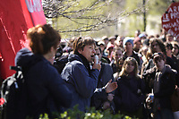 Montreal (QC) CANADA - April 17, 2012 -Francoise David, co-leader , Quebec Solidaire adress the crowd at a rallye