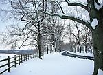 Snow storm on country winding tree lined road with split rail fence Oatland's Virginia, Fine Art Photography by Ron Bennett, Fine Art, Fine Art photography, Art Photography, Copyright RonBennettPhotography.com © Fine Art Photography by Ron Bennett, Fine Art, Fine Art photography, Art Photography, Copyright RonBennettPhotography.com ©