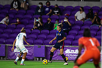 ORLANDO CITY, FL - FEBRUARY 24: Sophia Smith #17 of the USWNT dribbles the ball during a game between Argentina and USWNT at Exploria Stadium on February 24, 2021 in Orlando City, Florida.