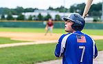 WATERBURY, CT 071221JS21  Wallingford Silver Storm's Jake Boucher (7) watches a ball go foul while waiting in the on-deck circle during their Connecticut Collegiate Baseball League game against the Brass City Bombers Monday at Municipal Stadium in Waterbury. <br />  Jim Shannon Republican American