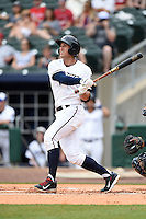NW Arkansas Naturals outfielder Lane Adams (6) hits a home run during a game against the Corpus Christi Hooks on May 26, 2014 at Arvest Ballpark in Springdale, Arkansas.  NW Arkansas defeated Corpus Christi 5-3.  (Mike Janes/Four Seam Images)