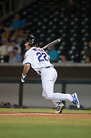 Mesa Solar Sox first baseman Jason Vosler (22), of the Chicago Cubs organization, at bat during a game against the Glendale Desert Dogs on October 16, 2017 at Sloan Park in Mesa, Arizona. The Desert Dogs defeated the Solar Sox 2-0.  (Zachary Lucy/Four Seam Images)