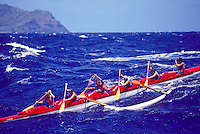 Outrigger Canoe Club Women's team, Women's Molokai to Oahu canoe race; offshore Ka Iwi, Oahu - October 1983.