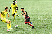 """ATLANTA, GA - AUGUST 22: Gonzalo """"Pity"""" Martinez #10 dribbles on goal during a game between Nashville SC and Atlanta United FC at Mercedes-Benz Stadium on August 22, 2020 in Atlanta, Georgia."""