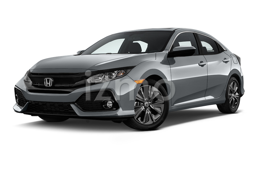 Stock pictures of low aggressive front three quarter view of 2017 Honda Civic EX 5 Door Hatchback Low Aggressive