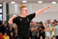 Cooper Duggan of Wellington College celebrates after he scores during the NZ Secondary Schools Senior Boys Final between Wellington College and Tauranga Boys' College at ASB Sports Centre, Wellington on 26 March 2021.<br /> Copyright photo: Masanori Udagawa /  www.photosport.nz