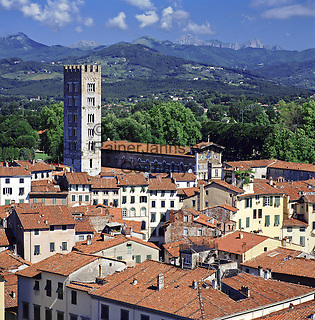 Italy, Tuscany, Lucca: View over Lucca with tower San Frediano | Italien, Toskana, Lucca: Stadtansicht mit Turm San Frediano