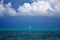 Sailboat in harbor at Charlotte Amalle. St. Thomas. US Virgin Islands