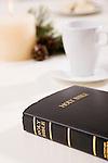 USA, Illinois, Metamora, Bible by cup on table
