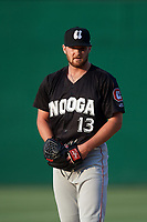 Chattanooga Lookouts pitcher Kohl Stewart (13) gets ready to deliver a pitch during a game against the Jackson Generals on April 29, 2017 at The Ballpark at Jackson in Jackson, Tennessee.  Jackson defeated Chattanooga 7-4.  (Mike Janes/Four Seam Images)