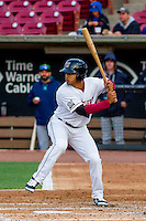 Wisconsin Timber Rattlers outfielder Trent Clark (27) at bat during a Midwest League game against the Clinton LumberKings on May 9th, 2016 at Fox Cities Stadium in Appleton, Wisconsin.  Clinton defeated Wisconsin 6-3. (Brad Krause/Four Seam Images)