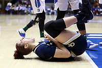 DURHAM, NC - JANUARY 26: Lorela Cubaj #13 of Georgia Tech reacts after earning a foul while scoring a basket during a game between Georgia Tech and Duke at Cameron Indoor Stadium on January 26, 2020 in Durham, North Carolina.