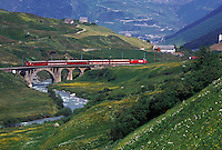 train, Switzerland, Uri, Urseren, Alps, The red Glacier Express Train travels through the scenic valley near the village of Hospental in the Swiss Alps.