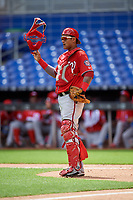 Washington Nationals catcher Alejandro Flores (19) during a Florida Instructional League game against the Miami Marlins on September 26, 2018 at the Marlins Park in Miami, Florida.  (Mike Janes/Four Seam Images)