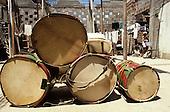 Recife, Brazil. Maracatu: crude homemade carnival surdo drums in a shanty town. Pernambuco State.