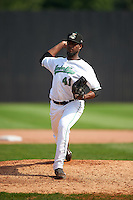 Clinton LumberKings pitcher Ronald Dominguez (41) delivers a pitch during a game against the Great Lakes Loons on August 16, 2015 at Ashford University Field in Clinton, Iowa.  Great Lakes defeated Clinton 3-2.  (Mike Janes/Four Seam Images)