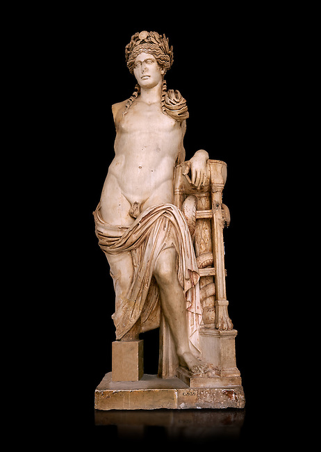 Second Century Roman statue of Apollo excavated from the Theatre of Carthage. The Bardo National Museum, Tunis, Tunisia. Inv No C939.  Against a black background.
