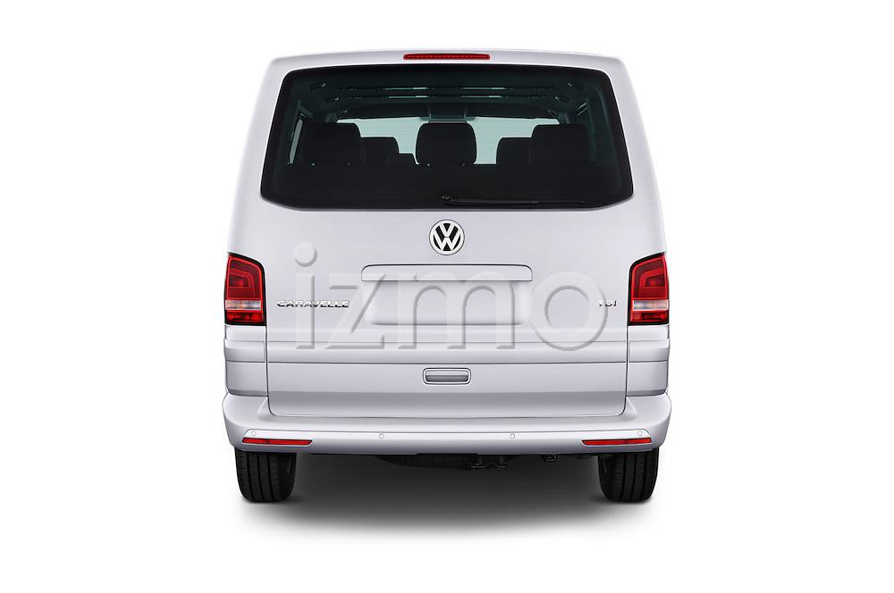Straight rear view of a 2014 Volkswagen CARAVELLE COMFORTLINE 4 Door Passenger Van Rear View  stock images
