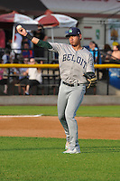 Beloit Snappers Edwin Diaz (12) throws to first base during the Midwest League game against the Clinton LumberKings at Ashford University Field on June 11, 2016 in Clinton, Iowa.  The LumberKings won 7-6.  (Dennis Hubbard/Four Seam Images)