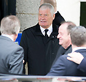Archie Knox leaves Mortonhall Crematorium after the funeral service for Sandy Jardine.