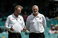 7th January 2021; Sydney Cricket Ground, Sydney, New South Wales, Australia; International Test Cricket, Third Test Day One, Australia versus India; umpires Paul Reiffel and  Paul Wilson announce play to resume after a rain delay
