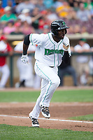 Taylor Trammell (5) of the Dayton Dragons hustles down the first base line against the West Michigan Whitecaps at Fifth Third Field on May 29, 2017 in Dayton, Ohio.  The Dragons defeated the Whitecaps 4-2.  (Brian Westerholt/Four Seam Images)